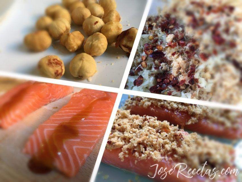 salmón con avellanas y miel ingredientes