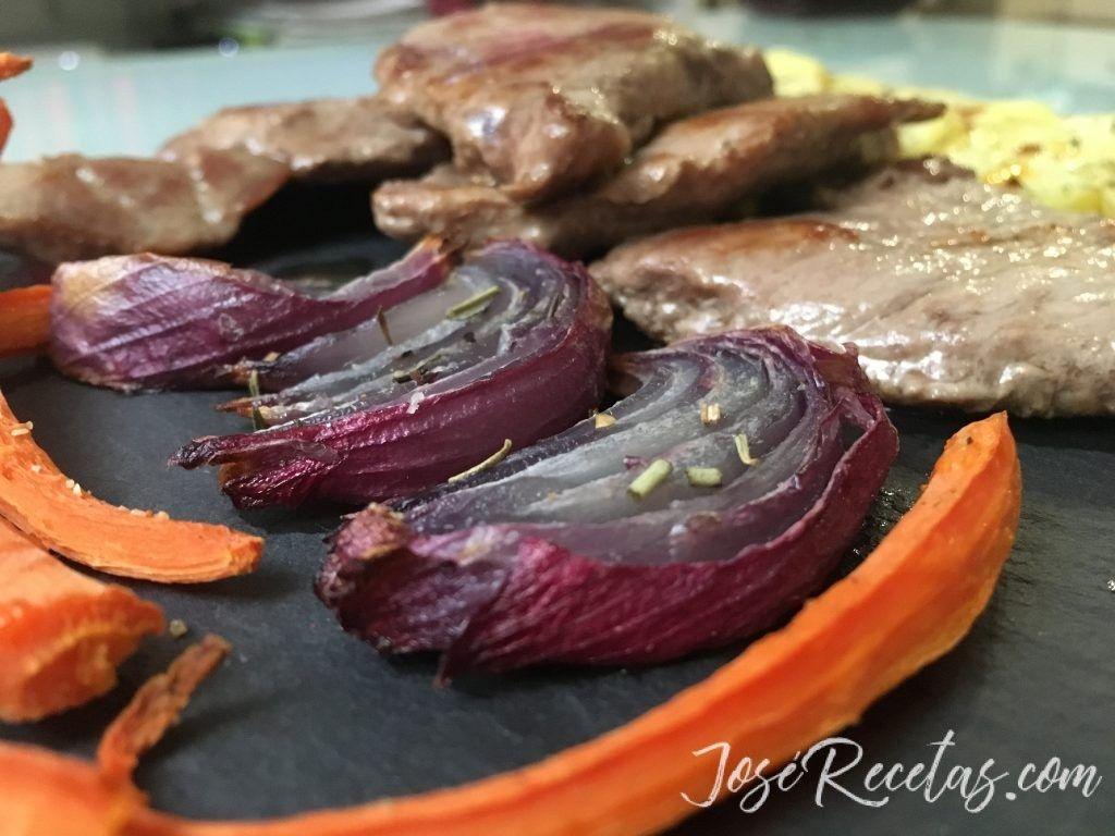 Vegetales al horno con carne